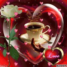 Coffee Gif, Coffee Images, Coffee Love, Good Morning Coffee, Good Morning Gif, Good Morning Images, Beautiful Gif, Beautiful Roses, Love Images