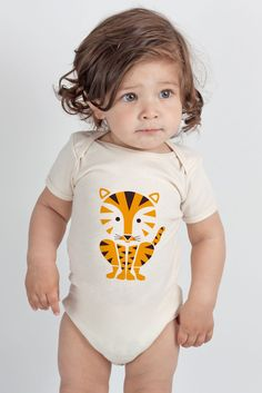 Tiger Screenprinted Organic Baby Onesie by sass & peril