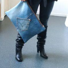 recycled denim jeans clutch bag large denim clutch by reloveduk