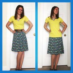 LuLaRoe Azure Skirt. Slightly flowy and super comfy!! The ideal skirt for spring and summer!! Find me on Facebook LuLaRoe Jen McConnell!