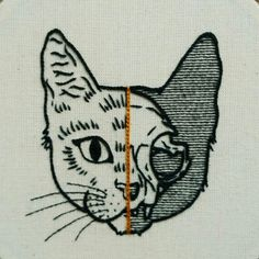 PDF pattern - PDF pattern - Half Cat Skull Hand Embroidery Pattern (PDF pattern - modern embroidery pattern) - *** This is a digital embroidery pattern – no physical goods will be shipped – it is an instant - Learn Embroidery, Hand Embroidery Stitches, Modern Embroidery, Embroidery Patches, Crewel Embroidery, Hand Embroidery Designs, Embroidery Techniques, Embroidery Kits, Brush Embroidery
