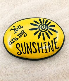 Rock Painting Ideas Discover You Are My Sunshine Encouragement Rock Affirmation Stone Hand Painted Rock Christmas gift Teacher gift stocking stuffer Painted Rocks Rock Painting Patterns, Rock Painting Ideas Easy, Rock Painting Designs, Paint Designs, Painting Ideas For Kids, Rock Painting Pictures, Pebble Painting, Pebble Art, Stone Painting