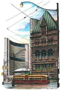 Old and New City Hall, Toronto, Canada by Artist Illustrator David Crighton Art Canadian Things, Canadian Artists, Toronto Neighbourhoods, High Contrast Images, Information Art, Glass Wall Art, New City, Art Pictures, Photos