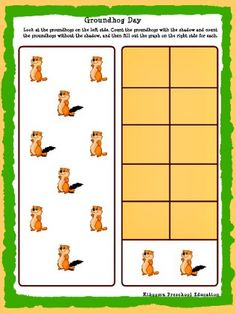 Groundhog Day Printable Math Worksheet and Song from Kiboomu