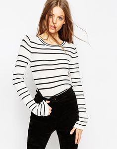 Image 1 of ASOS Striped Sweater in Stuctured Knit with Flared Sleeve