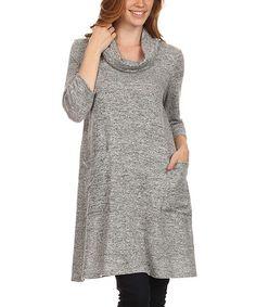 Look what I found on #zulily! Gray Cowl-Neck Dress - Plus #zulilyfinds