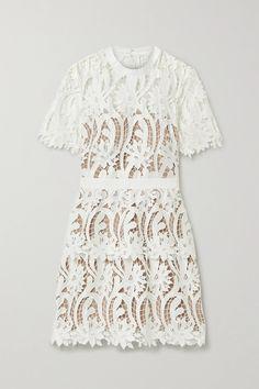 White Grosgrain-trimmed guipure lace mini dress   SELF-PORTRAIT   NET-A-PORTER White Mini Dress, White Lace, Event Dresses, Portrait, Grosgrain, Fashion News, Designer Dresses, Dress Up, Short Sleeve Dresses