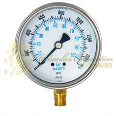 "Part #NV132A5N324KG Series 6211 Liquid Filled Pressure Gauge, 1/4"" NPT Bottom Connection, 4"" Gauge Size, 0-1500 PSI"