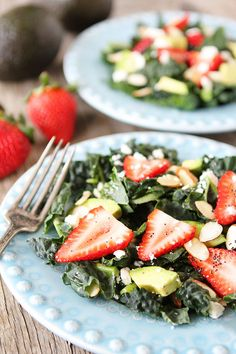 Kale, Strawberry & Avocado Salad with Lemon Poppy Seed Dressing on www.twopeasandtheirpod.com Love this healthy salad!