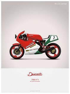 Ducati 750 F1 motorcycle illustration poster print 18 x by GP101