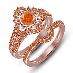925 Silver Beautiful Floral Shape Orange Sapphire Wedding Ring Set
