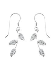 Sterling Silver Leaf Stem Short Drop Earrings