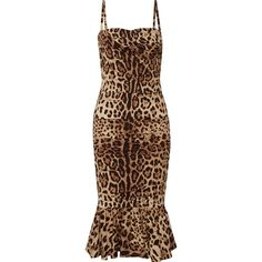 Dolce & Gabbana Ruched leopard-print silk-cady midi dress (5 750 AUD) ❤ liked on Polyvore featuring dresses, leopard print, bustier dress, silk dress, ruching dress, slimming dresses and ruched midi dress