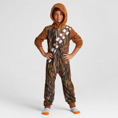 Boys' Star Wars Chewbacca Long-Sleeve Hooded Blanket Sleeper - Brown XL