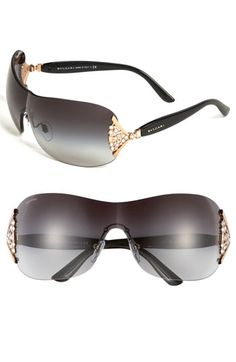 BVLGARI Swarovski Crystal Rimless Shield Sunglasses available at Nordstrom Swarovski Outlet, Oakley Glasses, Ray Ban Sunglasses Outlet, Glasses Online, Fashion Lookbook, Look Cool, Sunnies, Eyewear, Fashion Accessories