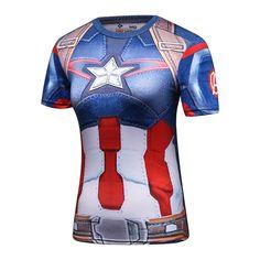 Ladies DC Comics Marvel Superman Batman/ Wonder Women's Fitness joger T Shirt Captain America Shirt, Superhero Superman, Batman, Bodybuilding T Shirts, Compression T Shirt, Cosplay, Casual T Shirts, Workout Shirts, Sport Outfits