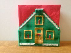 Christmas House Plastic Canvas Napkin by CreationsbyArabella, $10.00
