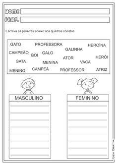 Atividades Masculino e Feminino Língua Portuguesa para Ensino Fundamental …
