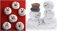 Snowman treats using powdered donuts- candy corn, mini mints, etc. School Christmas Party, Winter Birthday Parties, Winter Parties, Christmas Holidays, Christmas Baby, Christmas Snacks, Christmas Breakfast, Holiday Fun, Navidad