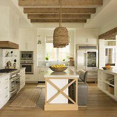 Eric Olsen Design - kitchens - open plan kitchen, open concept kitchen, kitchen seagrass basket pendants, seagrass light pendants, dual kitchen islands, doubl
