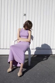 "mathilde in ""iconic modernism"" by massimo leardini Purple Fashion, Look Fashion, Fashion Design, Street Fashion, How To Clean Birkenstocks, Team Models, Lilac Dress, Knitwear Fashion, Purple Rain"