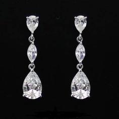 Clear Swarovski Crystals Bridal EarringsWedding by EmeraldDiamond, $30.00