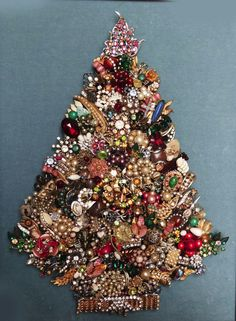 Vintage Jewelry Christmas Tree | Framed Jewelry Christmas Tree Vintage Picture Saphiret Glass ...