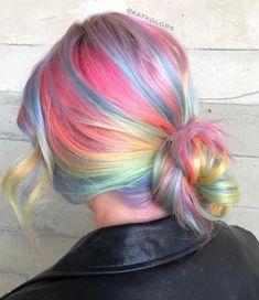 Pastel Rainbow Hair, Multicolored Hair, Rainbow Nails, Blorange Hair, Dye My Hair, Pulp Riot Hair, Cool Hair Color, Hair Colors, Vivid Hair Color