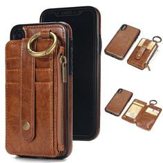 Cheap Creative Multi-function Ring Leather Phone Purse Wallet Split Iphone Cases For Big Sale! Vintage Iphone Cases, Iphone Cases For Girls, Girl Phone Cases, Funny Iphone Cases, Unique Iphone Cases, Iphone Phone Cases, Iphone Leather Case, Leather Wallet, Leather Handbags