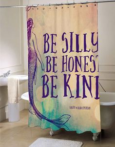 Mermaid be silly be hones Shower Curtain fresh bathroom idea for your bathroom interior beauty Customized a special Mermaid be silly be hones Shower Curtain