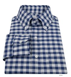 Luxire shirt constructed in Navy Royal Gingham On White Oxford: http://custom.luxire.com/products/navy-royal-oxford-gingham-on-white  Consists of button down collar with 3″ collar points and single button cuffs.