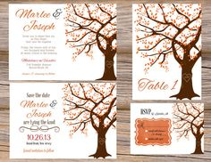 Autumn Oak Tree Fall Wedding Invitation Suite ~ Includes Invitation, RSVP Card, Save The Date, & Table Numbers ~ Use coupon code PINTEREST15 at checkout for 15% off of your total order! Perfect for an autumn wedding!