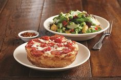 BJ's Mini One Topping Deep Dish Pizza and Salad - Our signature deep dish pizza with your choice of topping and a small house, caesar, or wedge salad. Bj Restaurant, Wedge Salad, House Salad, Lunch Specials, Mini One, Chicago Style, Lunch Menu, Deep Dish, Pizza Dough