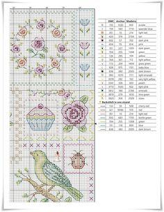 "Ana Paula´s Blog: ""Sampler"" Patchwork Cross Stitch Bird, Cross Stitch Embroidery, Bullet Journal, Flowers, Scrappy Quilts, Craft, Teapot, Kitchen, Blue Prints"