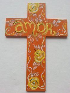 orange 9 x 7 amor rose cross by floralskull on Etsy