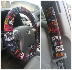 Star Wars Car Accessories Set ~ Steering Wheel Cover, Seat Belt Covers (2) and Key Fob Handmade