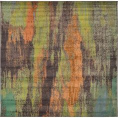 Unique Loom Multi-Colored Square Turkish Barcelona Rug x x Beige, Size x (Cotton, Abstract) Square Rugs, Abstract Styles, Online Home Decor Stores, Baby Clothes Shops, Animals For Kids, Abstract Pattern, Rugs Online, Colorful Rugs, Loom