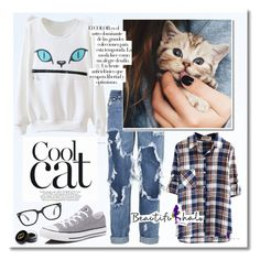 """""""Cool Cat - Beautifulhalo"""" by dora04 ❤ liked on Polyvore featuring One Teaspoon, Converse, Arco, Gucci and bhalo"""