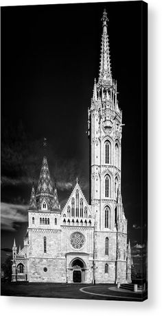Matthias Church Budapest Hungary Acrylic Print for sale. Fascinating architecture in black and white, stark contrast. The image gets printed directly onto the back of a sheet of clear acrylic. The image is the art - it doesn't get any cleaner than that! Matthias Hauser - Art for your Home Decor and Interior Design.