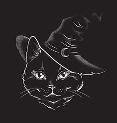 Black cat with pointy witch hat line art vector Tattoo Gato, Kitten Tattoo, Black Cat Drawing, Black Cat Art, Black Cat Aesthetic, Vintage Halloween Cards, Black Cat Tattoos, Witch Tattoo, Line Art Vector