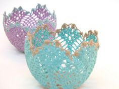Lacy crochet little bowls or votive holders.