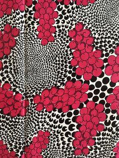 African Print Fabric/ Ankara Pink Black White 'Cloud
