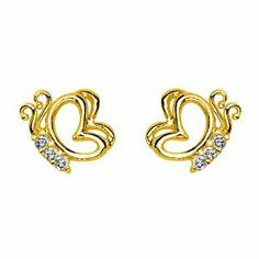 14K Yellow Gold Plated Butterfly CZ Stud Earrings with Screw-back for Children & Women GoldenMine. $12.00. Manufactured using only up-to-date manufacturing techniques ensuring excellent quality and value.. Stud Earrings are the perfect addition to your wardrobe for any occasion. Complete with complimentary Gift Box for Gift Giving. This item qualifies for FREE-SHIPPING with purchase of over $30.00. Brilliantly Crafted using only the finest 14K gold available.