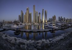 Dubai Marina Skylines - a stitched panorama with Nikon PC NIKKOR 19mm, 6 multiple shots at 4 minutes exposure time for each frame. edited with Adobe CC 2017 Using NiSi Filters 10 stop ND