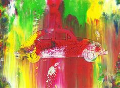 The Beetle Abstract Acrylic Car Painting in Double by rostudios, $30.00