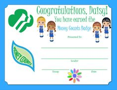 Daisy Money Counts Badge Certificate