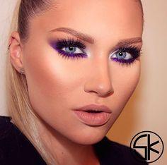 Grey smokey + purple liner accent + white inner eye + heavy lashes + nude lip
