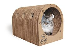 Cueva de cartón para gatos con superficie para rascar • Eco-friendly cardboard cat scratcher house
