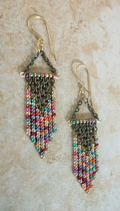 Metallic Mix Colored Beaded Chandelier Earrings / Free US Shipping