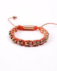 Gold skull head beaded bracelet-orange-Skull head bracelet http://www.anarchystreet.com/new-arrivals?product_id=206